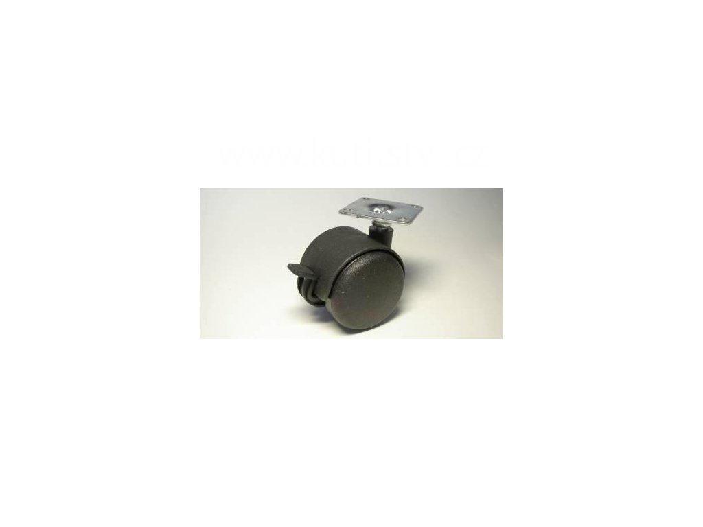 Nábytkové kolečko typu BA + kovová destička 42x42mm, celoplastové, pr. 50, černé, brzda