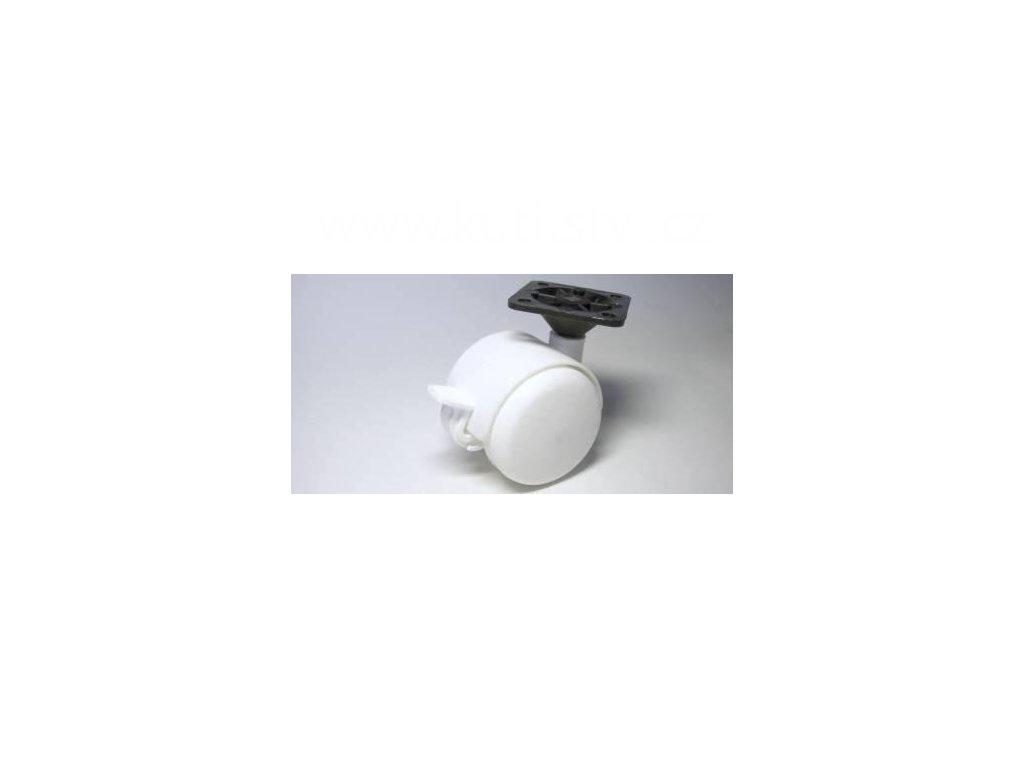 Nábytkové kolečko typu BA, celoplastové + plast. destička 45x45mm, pr. 50, bílé, brzda
