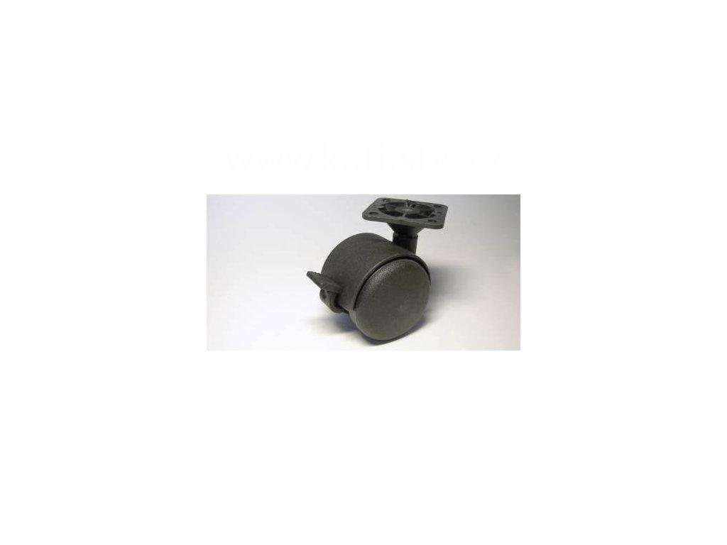 Nábytkové kolečko typu BA + plast. destička 45x45mm, celoplastové, pr. 50, černé, brzda