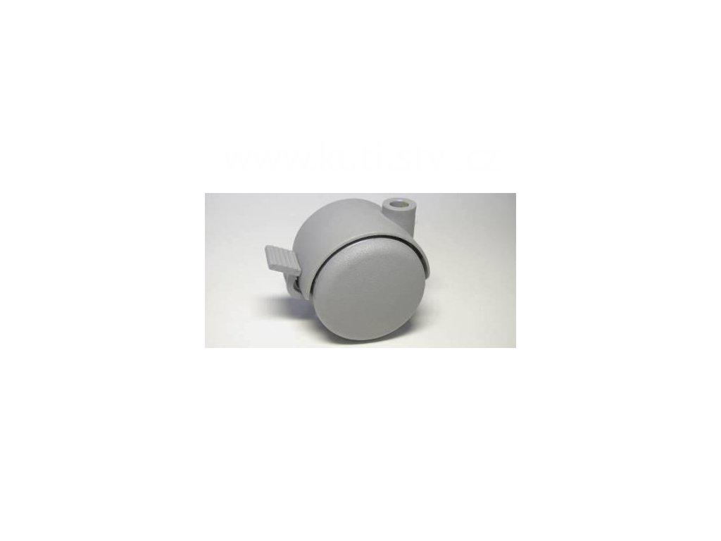 Nábytkové kolečko, čep typu BA, celoplastové, průměr 50, šedé, brzda