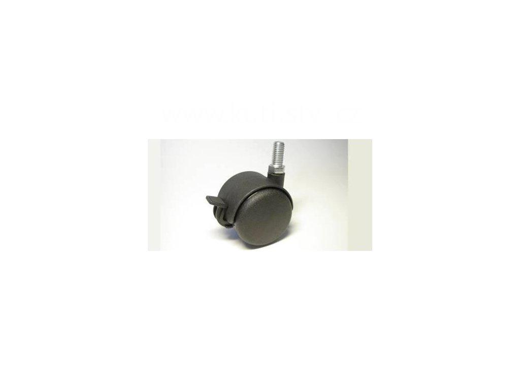Nábytkové kolečko typu BA + závit M10x20mm, celoplastové, průměr 50, černé, brzda