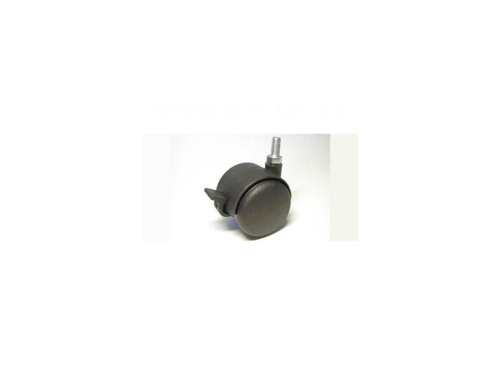 Nábytkové kolečko typu BA + závit M8x16mm, celoplastové, průměr 50, černé, brzda