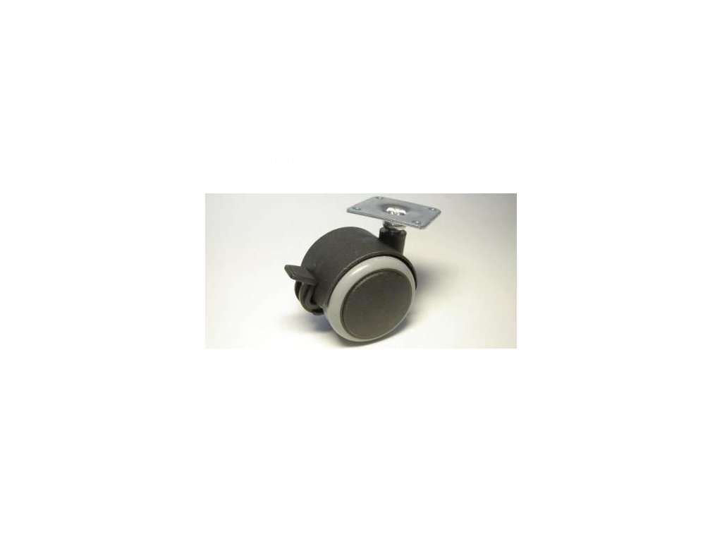 Nábytkové kolečko typu BA + kovová destička 42x42mm, celoplast., pr. 50, černé s gumou, brzda