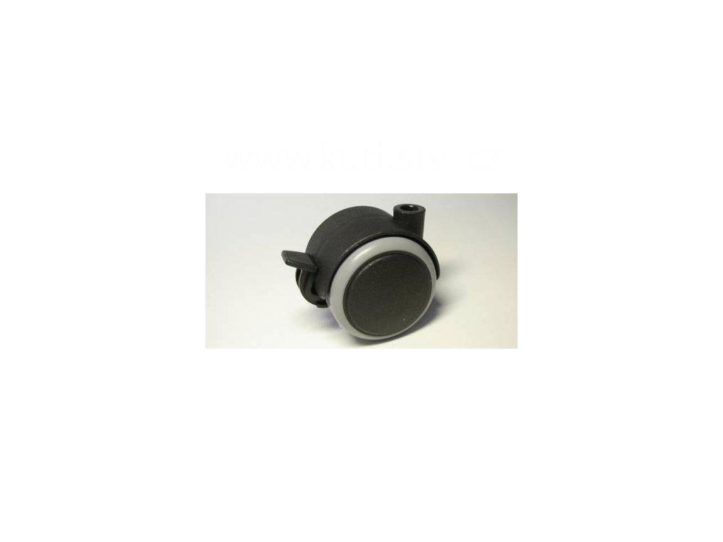 Nábytkové kolečko typu BA, celoplastové, průměr 50, černé s gumou, brzda