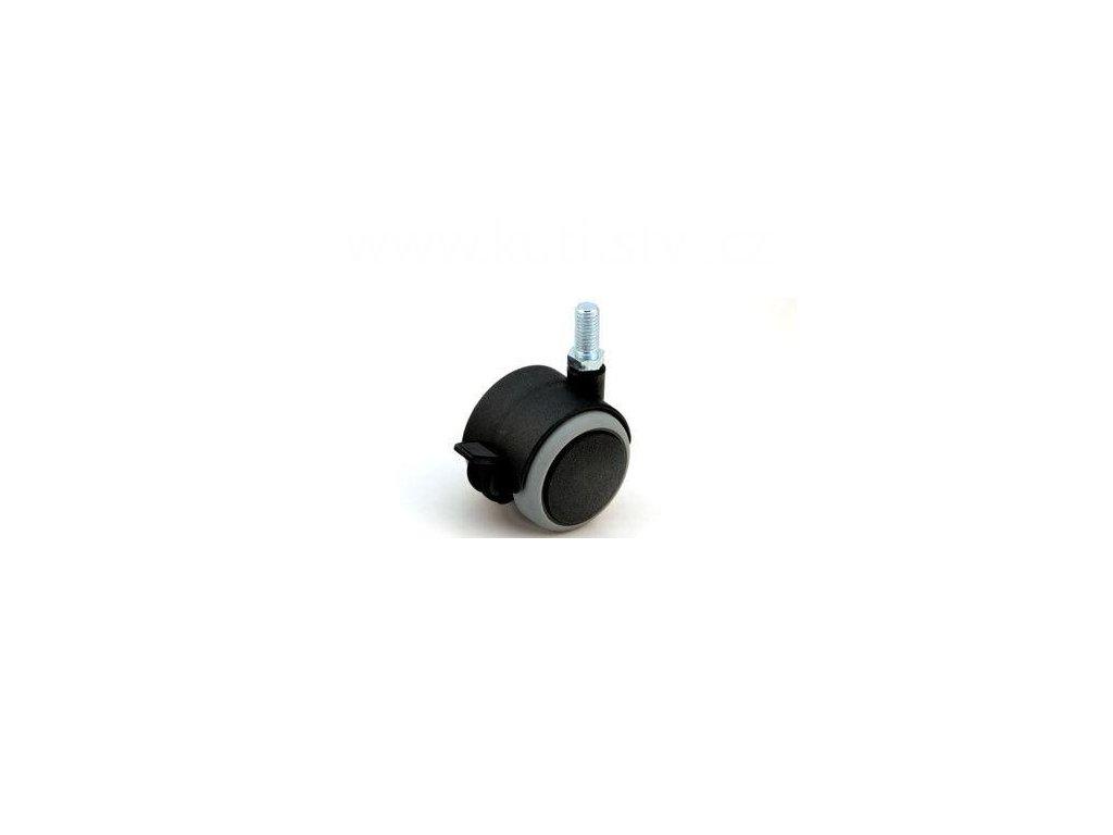 Nábytkové kolečko typu BA + závit M10x20mm, celoplastové, pr. 50, černé s gumou, brzda