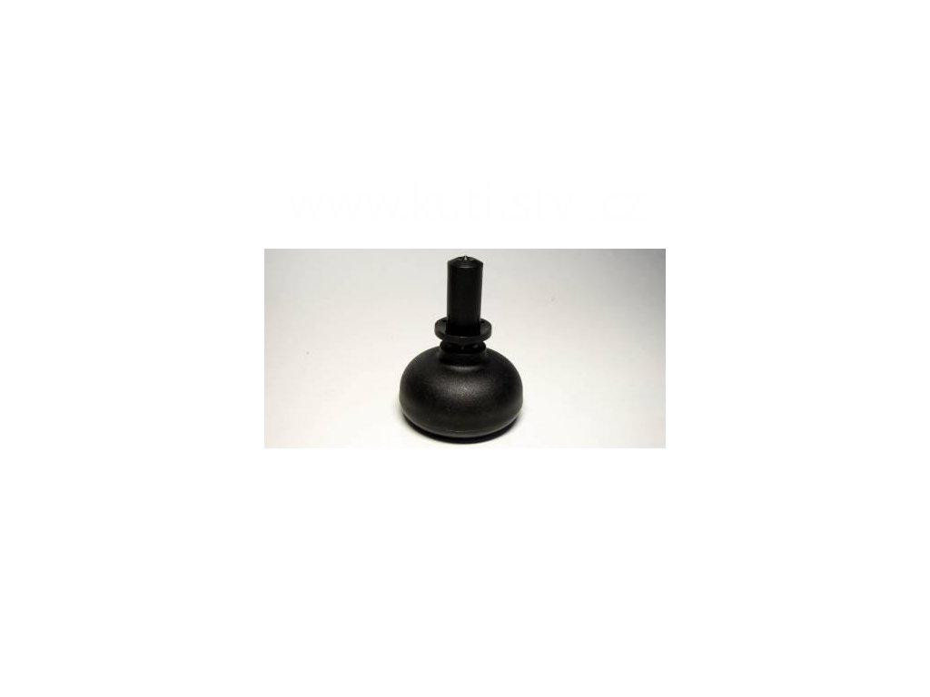 Nábytkový kluzák typu KB + čep v plast. pouzdře 13x28mm, průměr 50 mm, černý