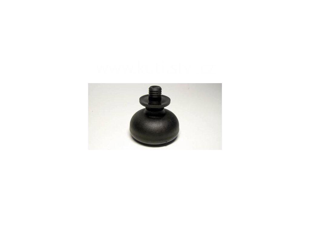 Nábytkový kluzák typu KB + čep v plast pouzdře 12x14mm, průměr 50 mm, černý