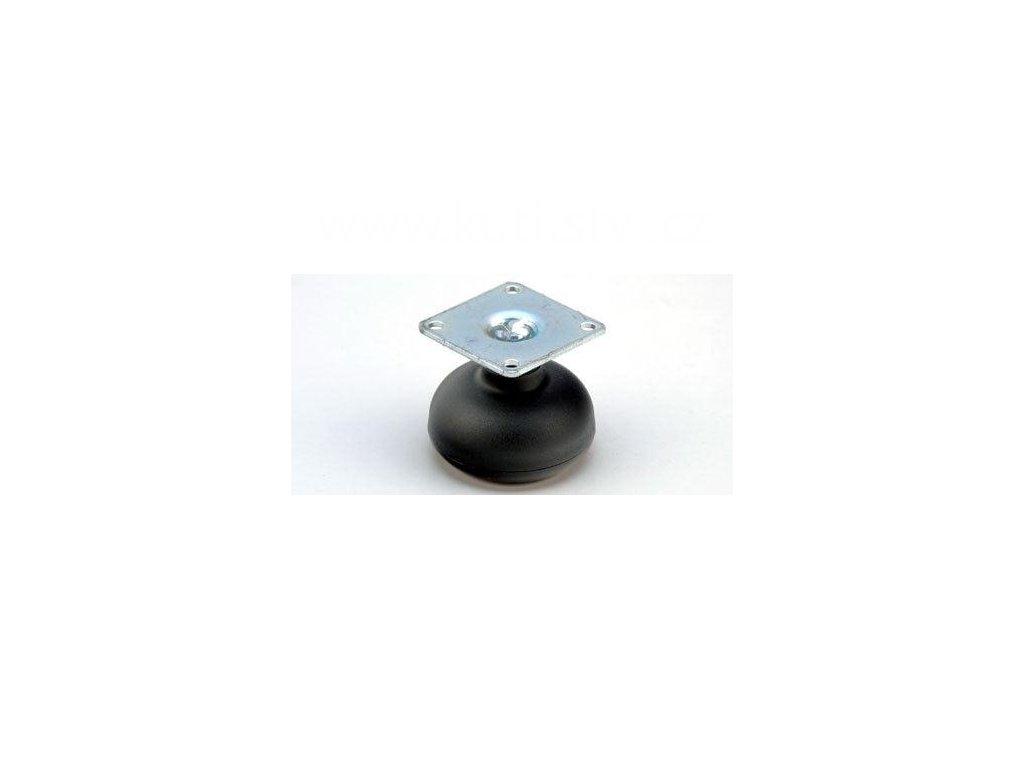 Nábytkový kluzák typu KB + kovová destička 42x42mm, průměr 50 mm, černý