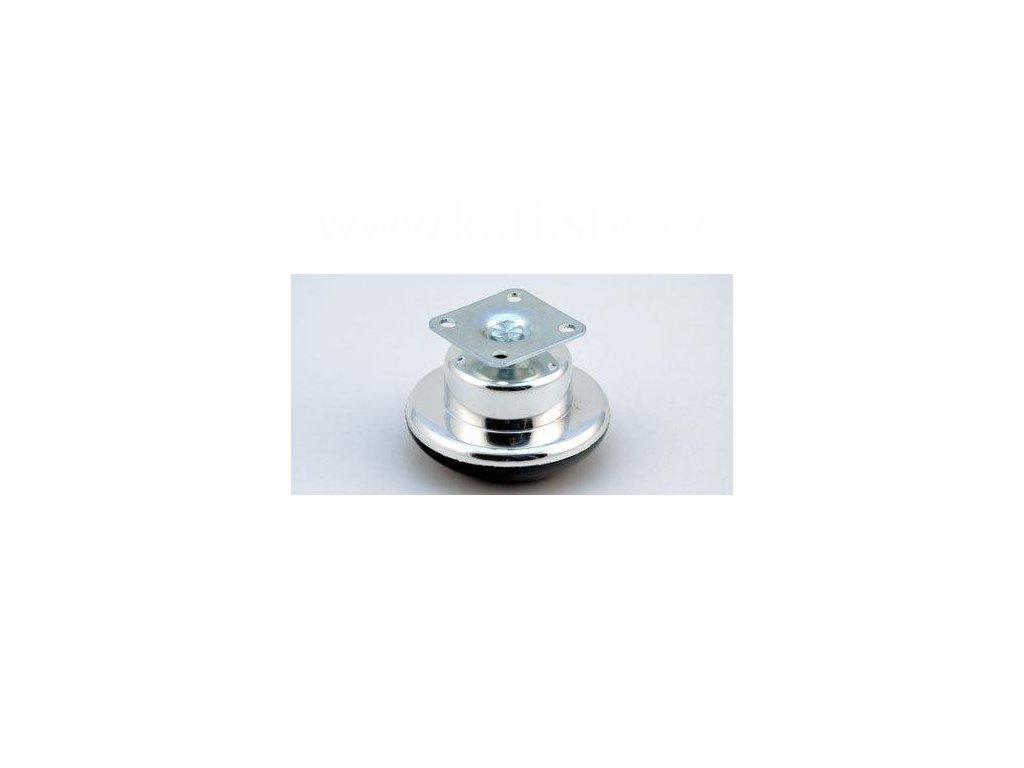Nábytkový kluzák + kovová destička 35x35mm, průměr 65 mm, plast+chrom, černý
