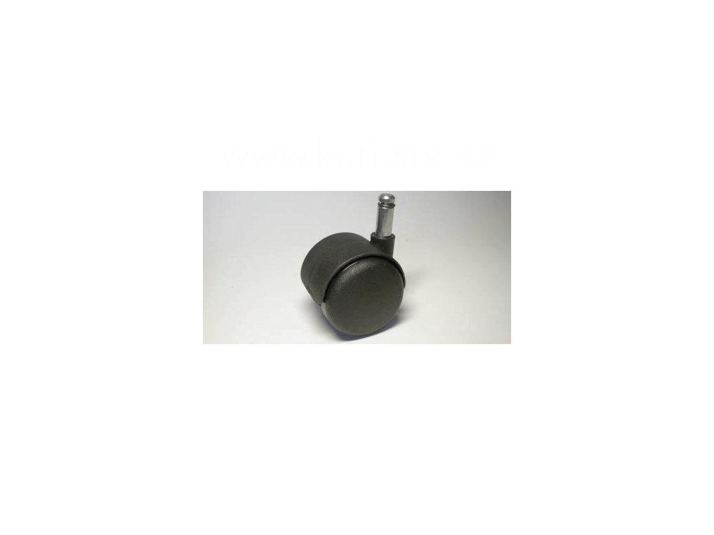 Židlové kolečko typu A + čep 10x25mm, celoplastové, průměr 50, černé
