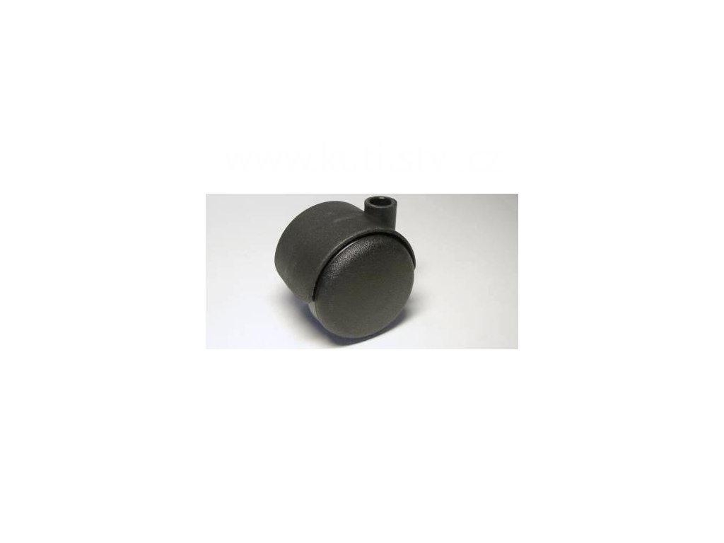 Židlové kolečko typu A, bez uchycení, díra pr.10mm, celoplastové, průměr 50, černé