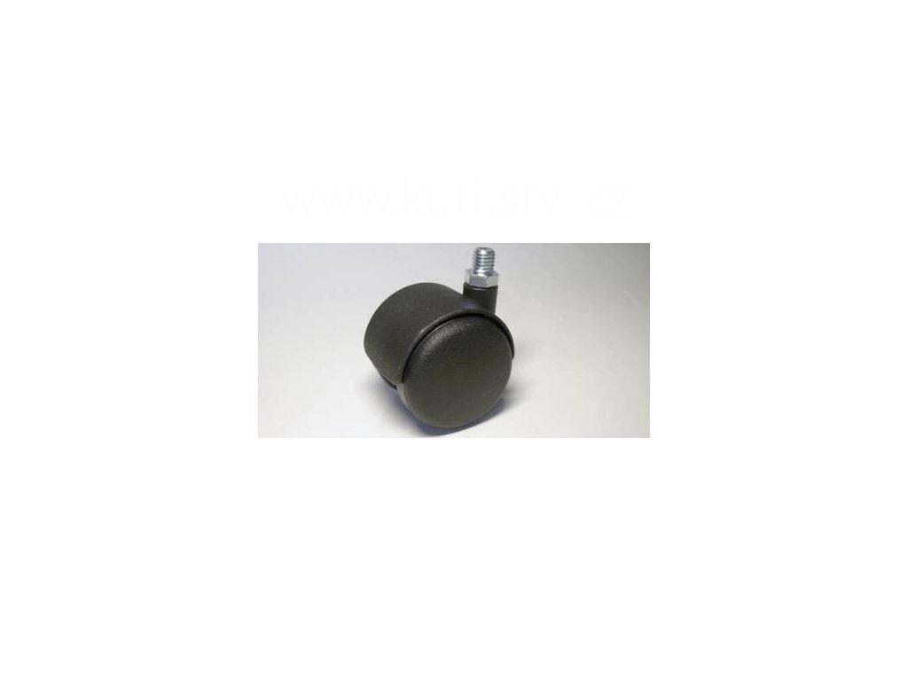 Židlové kolečko typu A + závit M10x10mm, celoplastové, průměr 50, černé