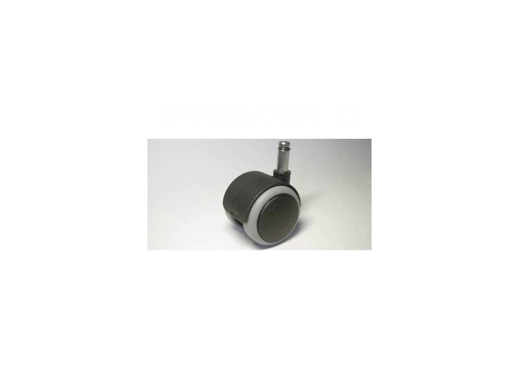Židlové kolečko typu A + čep 10x25mm, celoplastové, průměr 50, černé s gumou