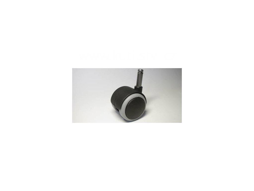 Židlové kolečko typu A + čep 10x31mm, celoplastové, průměr 50, černé s gumou