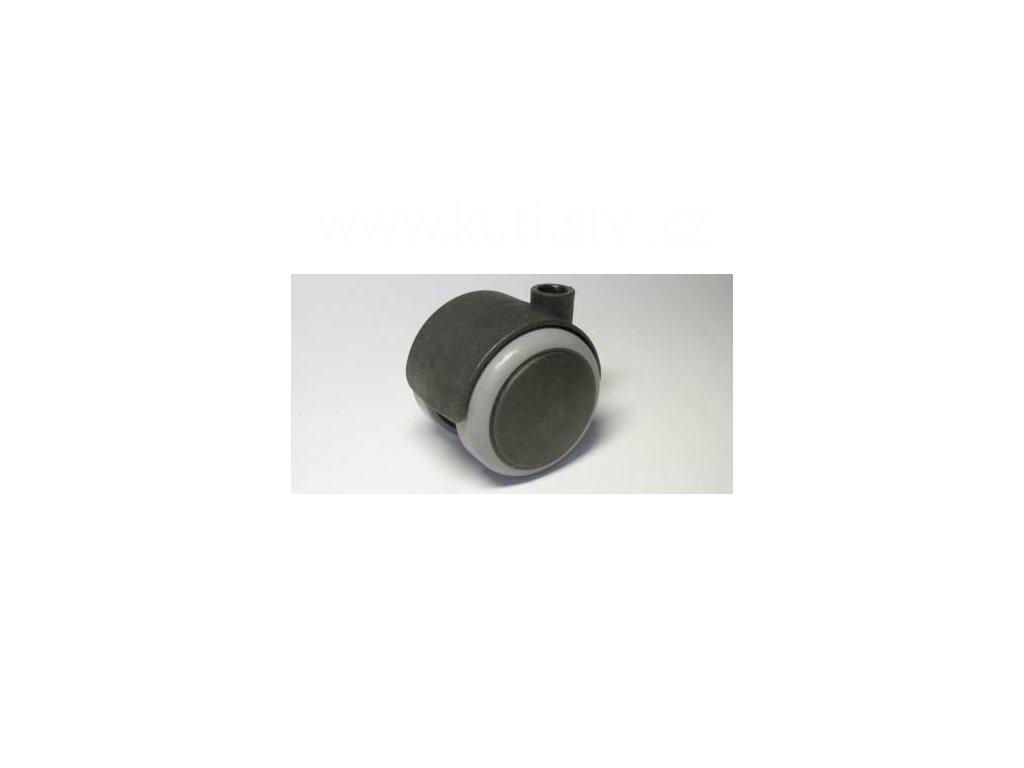 Židlové kolečko typu A, celoplastové, průměr 50, černé s gumou, díra průměr 10mm