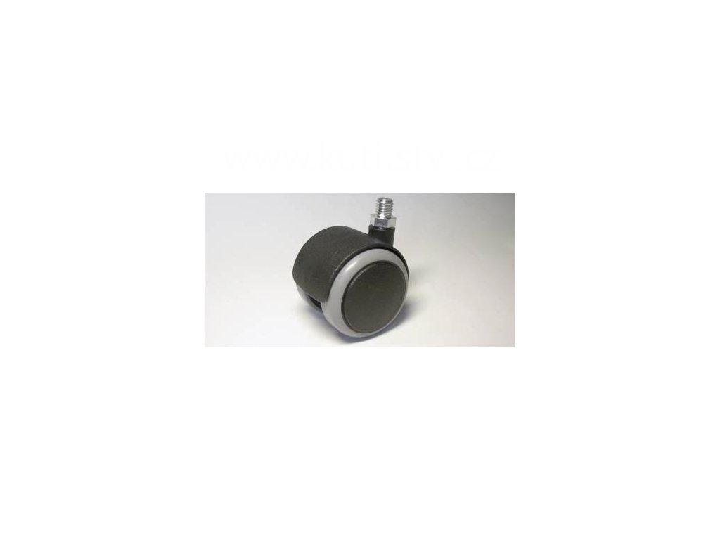 Židlové kolečko typu A + závit M10x10mm, celoplastové, průměr 50, černé s gumou