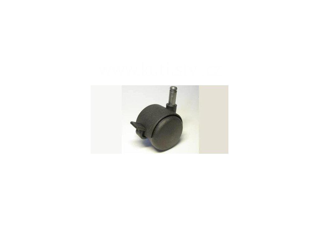 Židlové kolečko typu BA + čep 10x25mm, celoplastové, průměr 50, černé, brzda