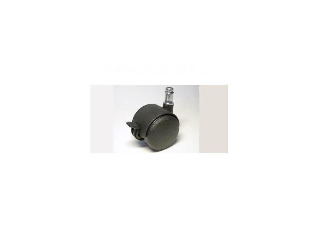 Židlové kolečko typu BA + čep 10x20mm, celoplastové, průměr 50, černé, brzda