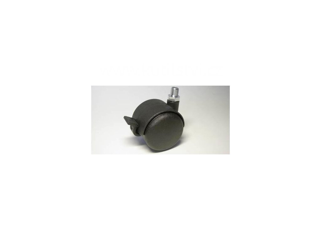 Židlové kolečko typu BA + závit M10x10mm, celoplastové, průměr 50, černé, brzda