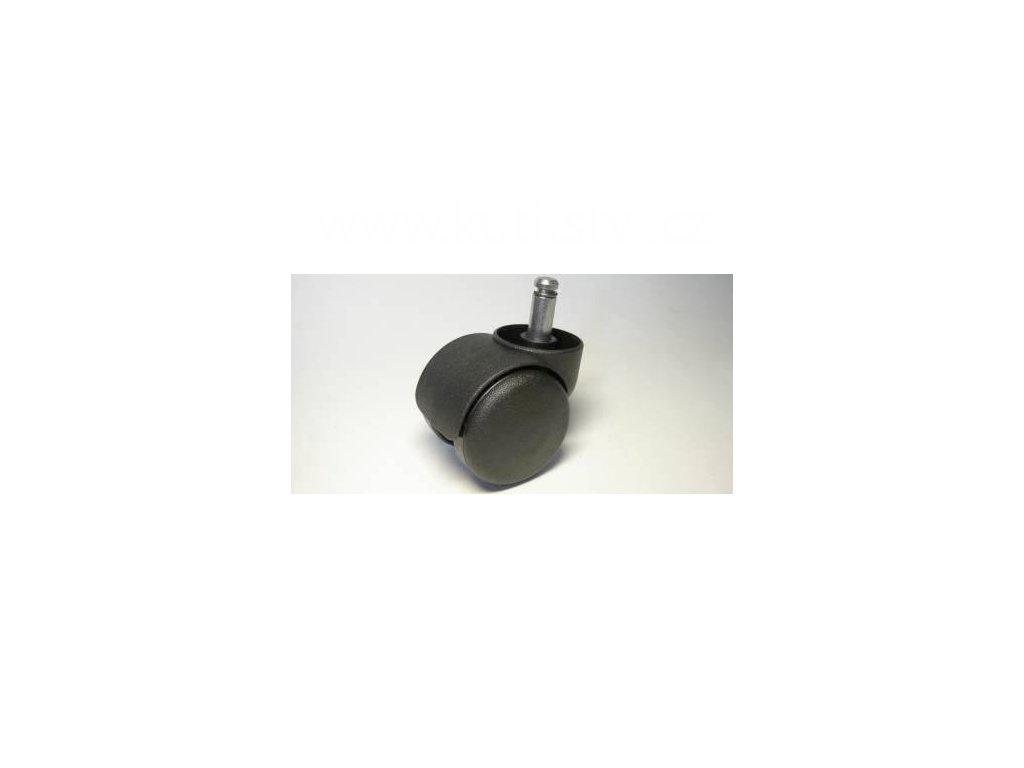 Židlové kolečko typu C + čep 10x25mm, celoplastové, průměr 50, černé