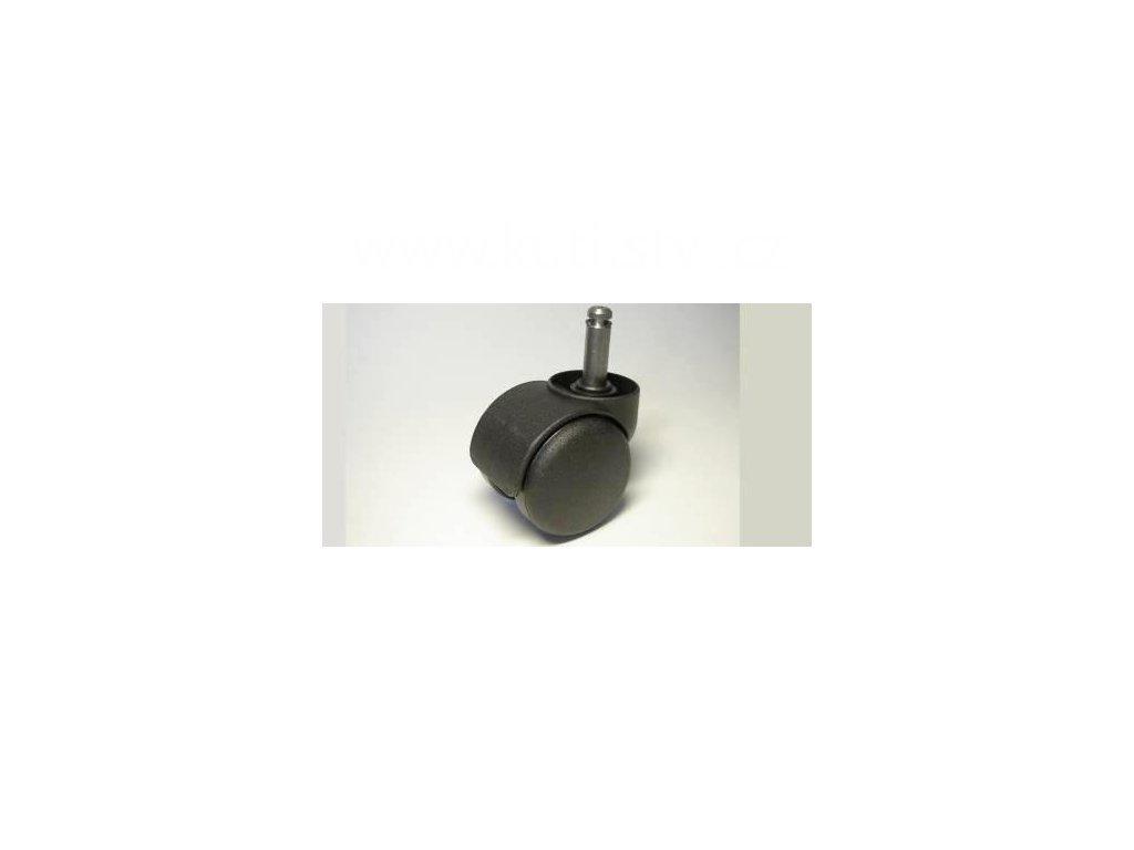 Židlové kolečko typu C + čep 10x31mm, celoplastové, průměr 50, černé