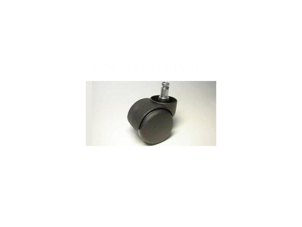 Židlové kolečko typu C + čep 11x20mm, celoplastové, průměr 50, černé