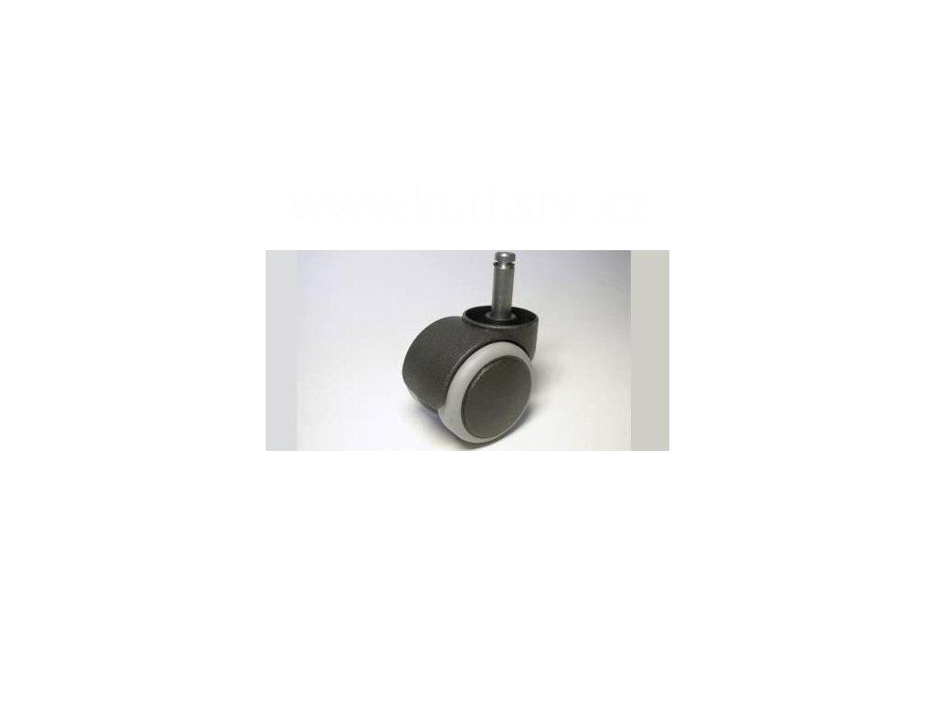 Židlové kolečko typu C + čep 10x31mm, celoplastové, průměr 50, černé, s gumou