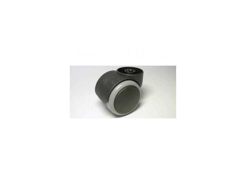Židlové kolečko typu C, celoplastové, průměr 50, černé, s gumou