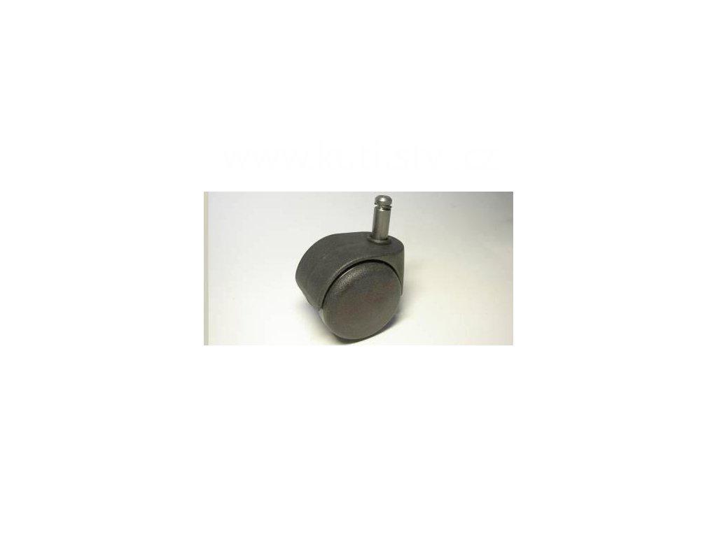Židlové kolečko typu D + čep 10x25mm, celoplastové, průměr 50, černé