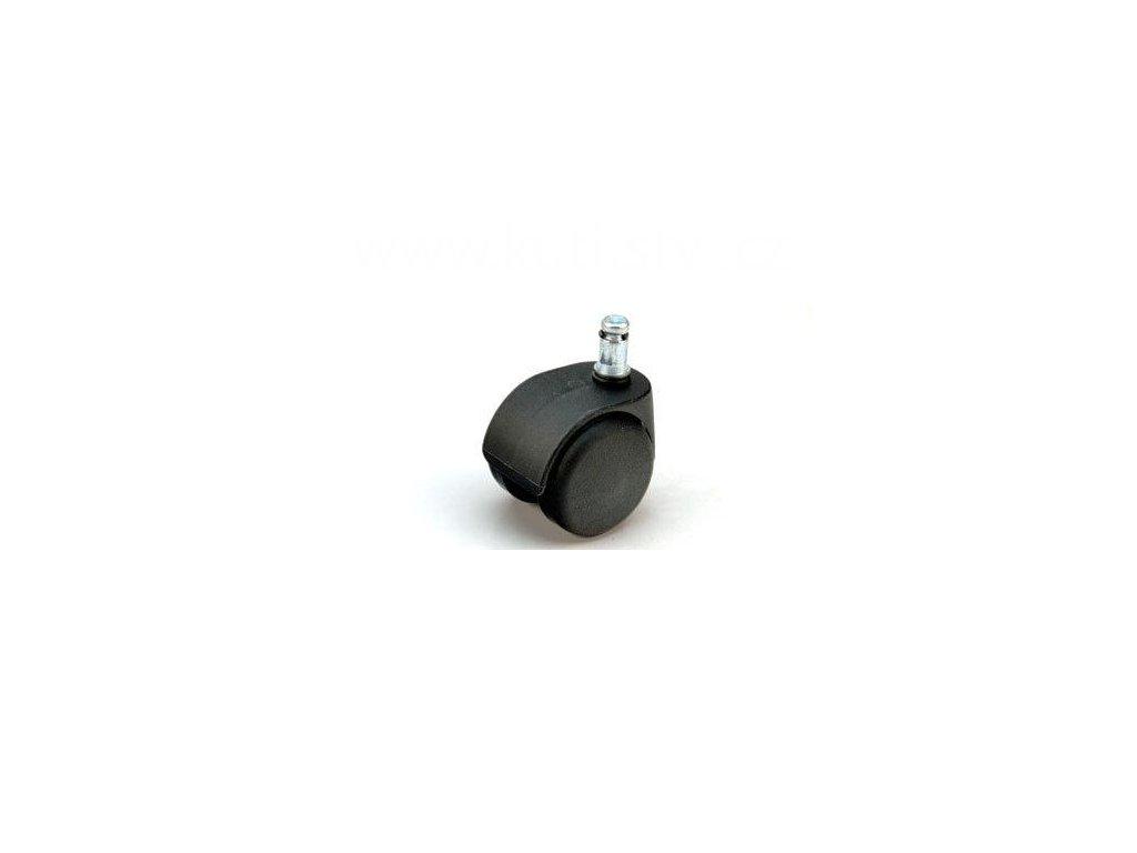 Židlové kolečko typu D + čep 11x20mm, celoplastové, průměr 50, černé