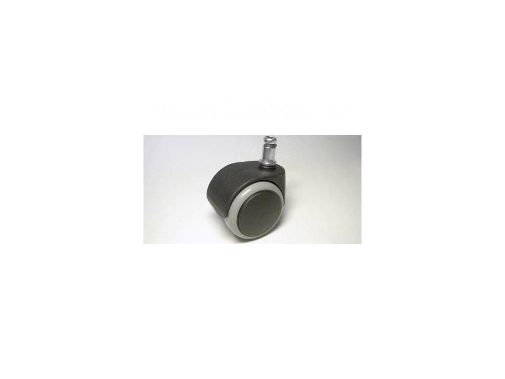 Židlové kolečko typu D + čep 11x20mm, celoplastové, průměr 50, černé s gumou