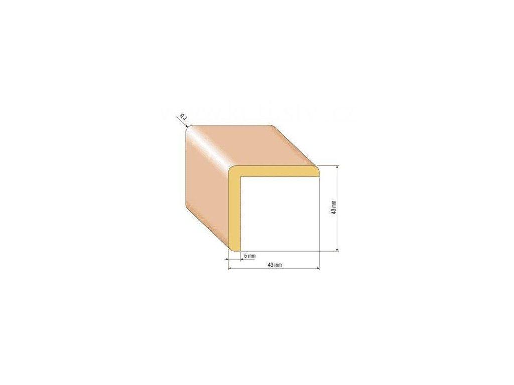Dřevěná rohová lišta, 43x43 mm