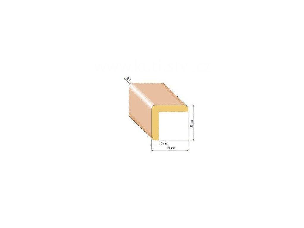 Dřevěná rohová lišta, 29x29 mm