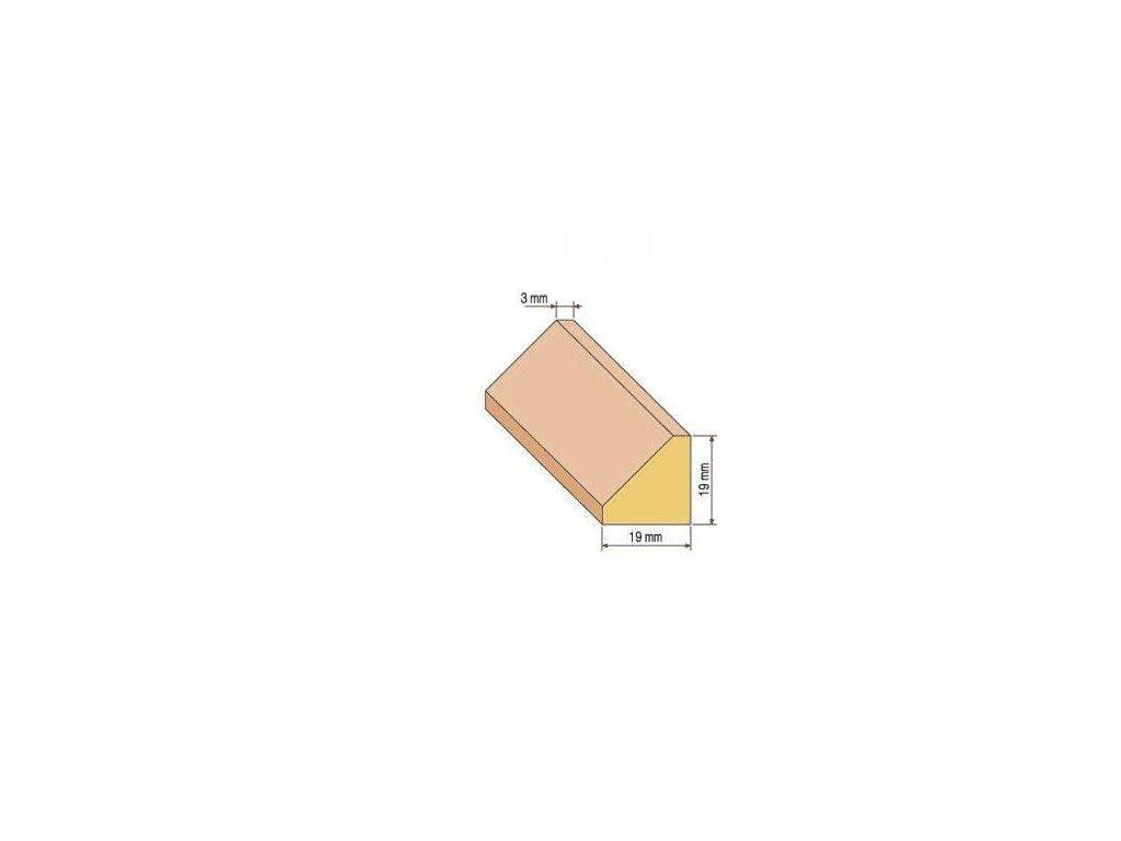 Dřevěná trojúhelníková lišta, 19x19 mm