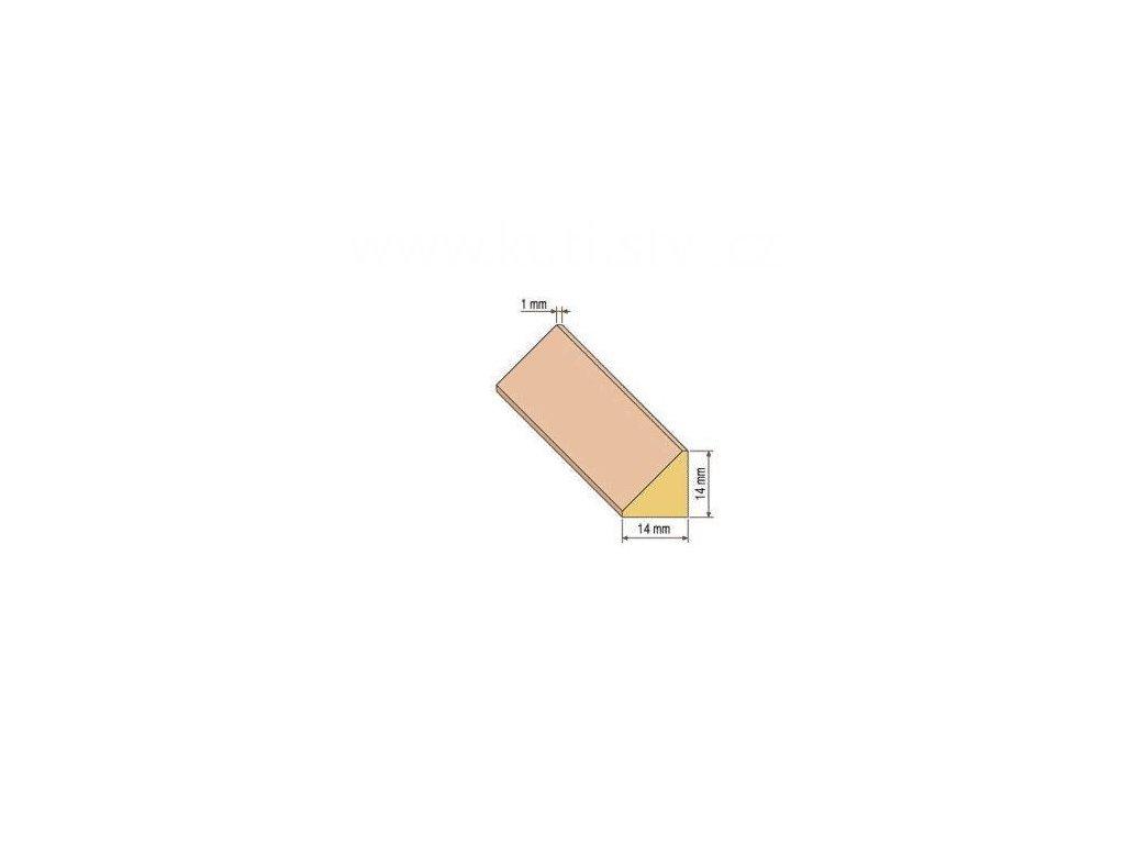 Dřevěná trojúhelníková lišta, 14x14 mm