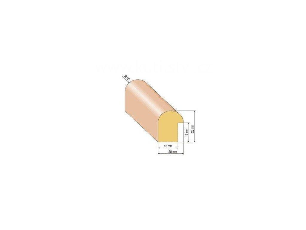 Dřevěná zasklívací lišta, R 10
