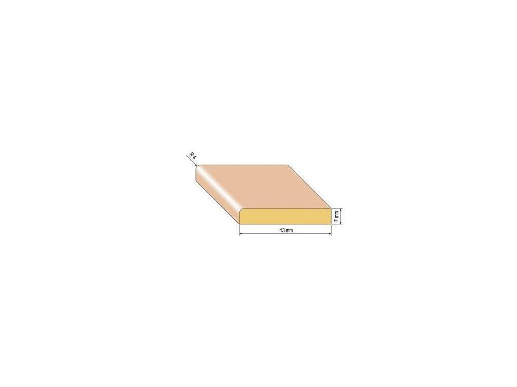 Dřevěná podlahová lišta, 43x7 mm, buk