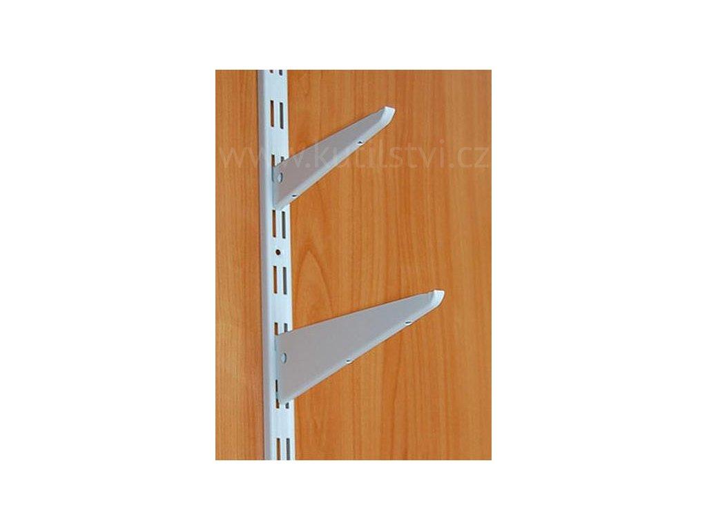 Police na stěnu - variabilní konstrukce složená ze základního profilu a závěsných ramen