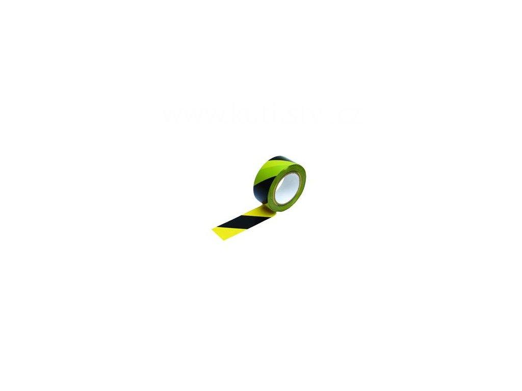 Varovací PVC páska černá-žlutá samolepicí, 50 mm x 33m
