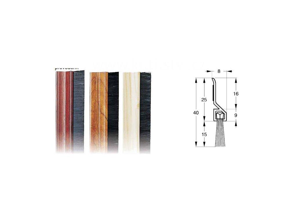 Těsnící kartáč dveří, plastový, samolepící, imitace borovice, buk, mahagon, doprodej