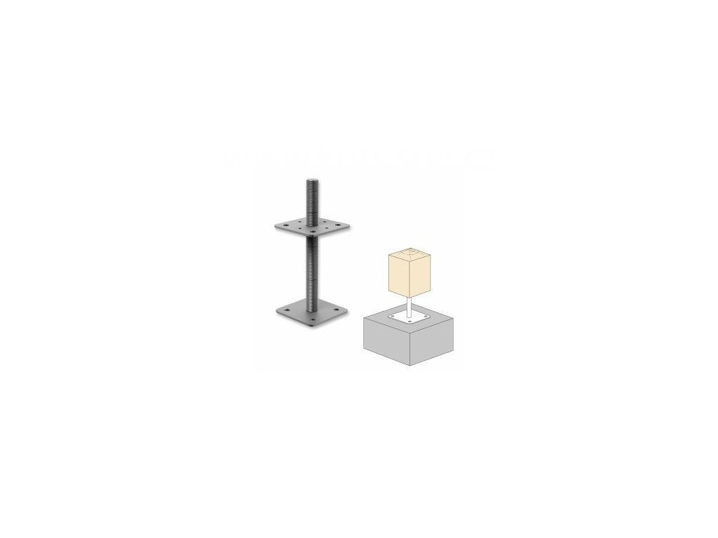 Patka pilíře s volnou maticí, 110x110x250x4,0 M24
