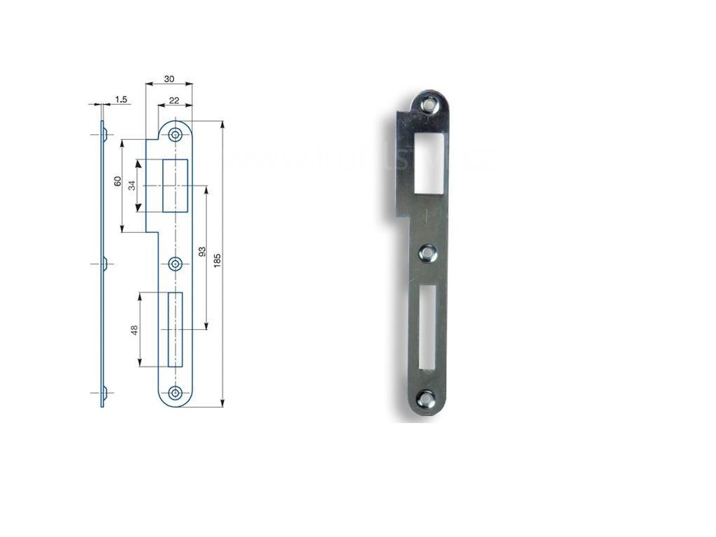 Zapadací plech rovný Hobes K 180 - pro zámek s roztečí 90 mm