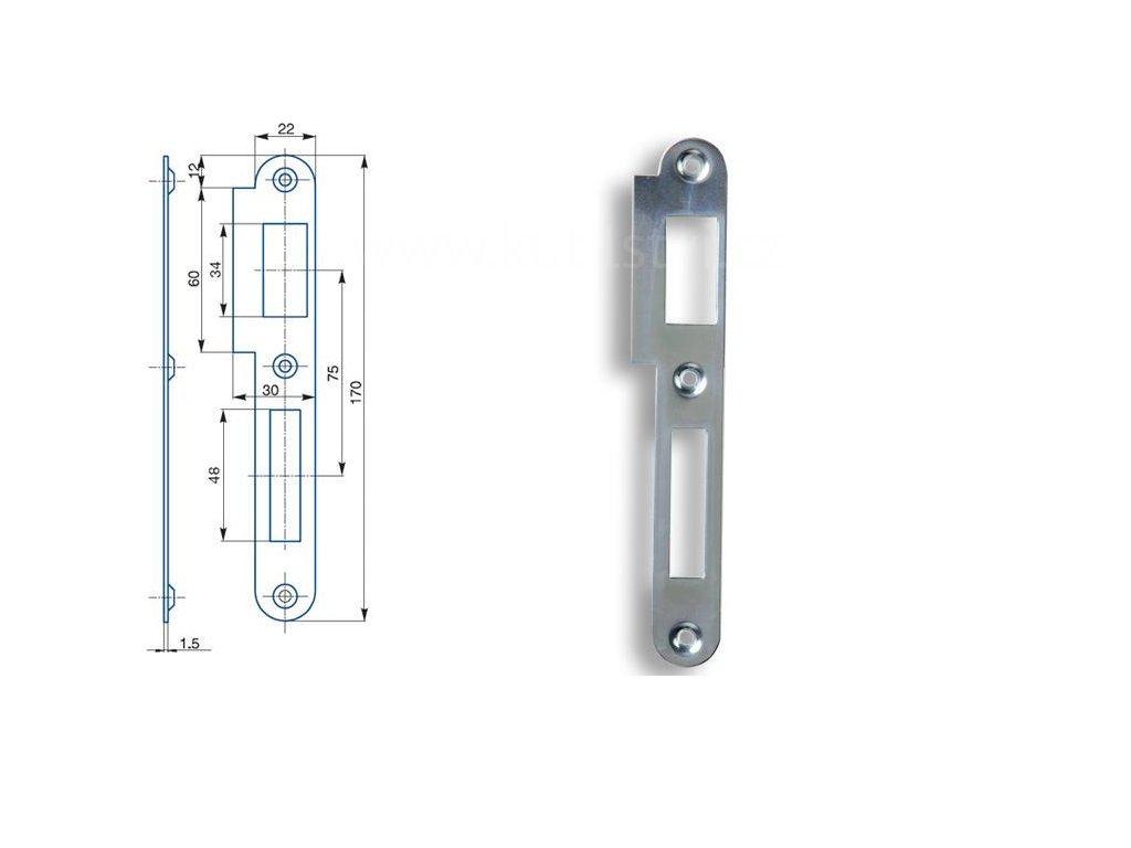 Zapadací plech rovný Hobes K 182 - pro zámek s roztečí 72 mm