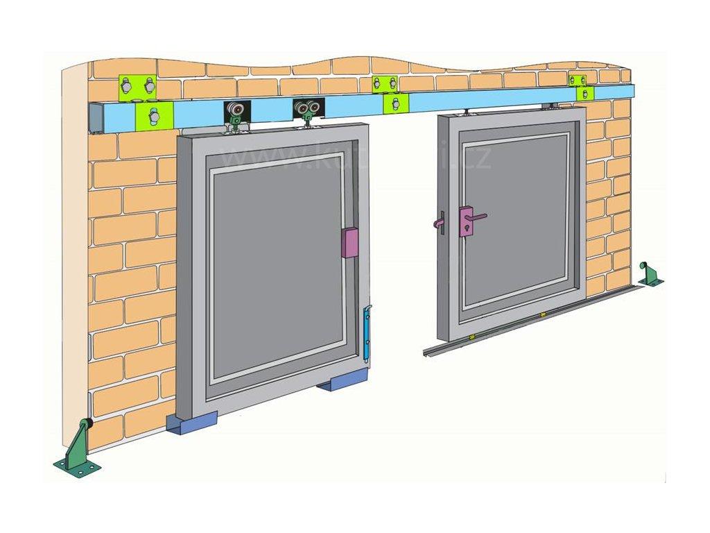 Pojezdová sada pro zavěšená vrata 200 a 400 kg, profil 42x54 mm