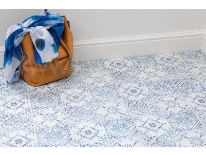 Podlahové samolepící čtverce - Modrobílé ornamenty, rozměr 30,5x30,5cm, balení 11ks, 2745053