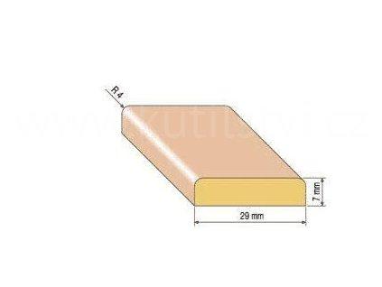 Dřevěná krycí lišta, 29x7 mm