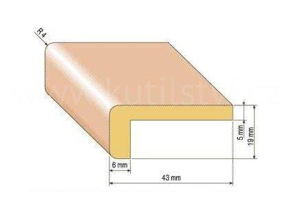 Dřevěná rohová lišta, 43x19 mm