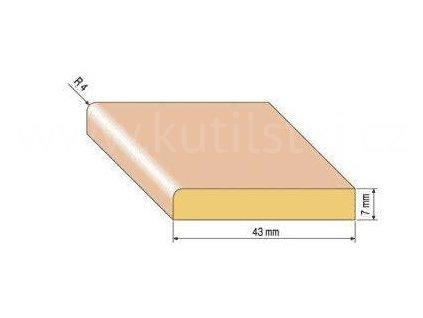 Dřevěná podlahová lišta, 43x7 mm, dub