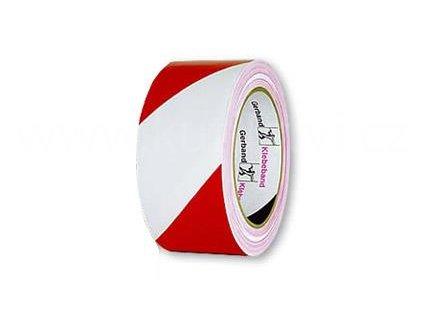 Výstražná PVC páska červenobílá samolepicí, 50mm x 33m