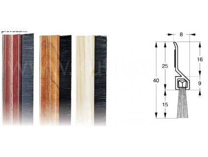 Těsnící kartáč dveří, plastový, samolepící, imitace borovice, buk, mahagon